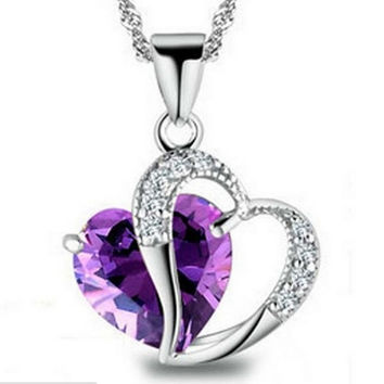 Top Class Women Girls Lady Heart Crystal  healing crystals Amethyst floating locket Pendant Necklace Jewelry Fashion