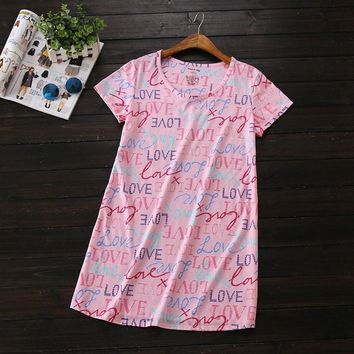 2017 Summer Brand Homewear Women Casual Print nightgown washed Cotton nightdress Female Short sleeve Round collar sleeping dress