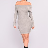 Fallon Off Shoulder Dress - Heather Grey