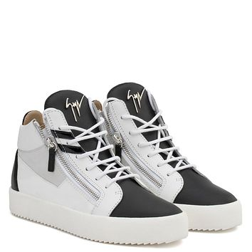 Giuseppe Zanotti Gz Kriss Dual Black Calfskin Leather Mid-top With White Leather Insert