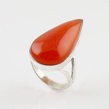 Carnelian Sterling Silver Pear Ring