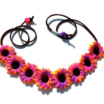 Pink Tie Dye Flower Headband, Flower Crown, Flower Halo, Festival Wear, Coachella, Rave, Daisy Crown