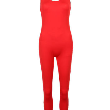Red Scoop Neck Backless Tight Jumpsuit