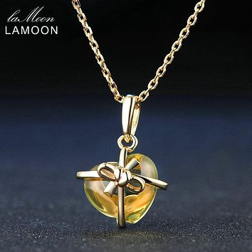 Lamoon Romantic Heart Natural Citrine 925 Sterling Silver Chain Pendant Necklace Jewelry 14K Yellow Gold Plated S925 LMNI017