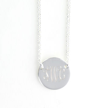 Sterling Silver Circle Monogram Pendant Necklace