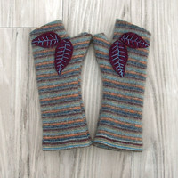 Striped Fingerless Gloves with Eggplant Colored Leaves, Ecofriendly Felted Wool Mittens