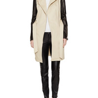 Cotton & Leather Sleeve Trench Coat