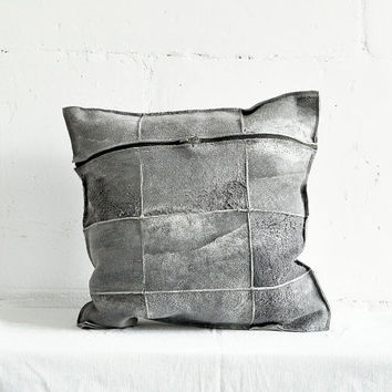 Handmade Sheepskin Decorative Pillow / Two Parts Grey Leather Cushion with Metal Zipper.