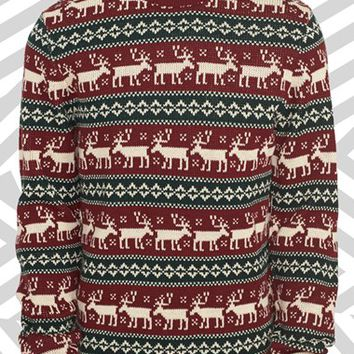 Men's Topman 'Reindeer Crossing' Sweater