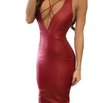 Red Daring V Neck Open Back Faux Leather Midi Dress