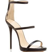 Black Leather Triple Strapped Coline Sandals