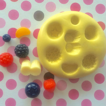 Set Of Assorted FRUITS Silicone MOLD - Mould, Fondant, Resin, Soap, Clay, Cake Pops, Cupcake, Cake, Resin Mold, Charm, Jewelry, Blueberry