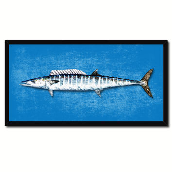 Wahoo Fish Blue Canvas Print Picture Frame Gifts Home Decor Nautical Wall Art