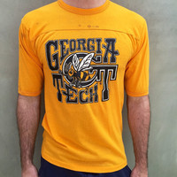Vintage 70s Georgia Tech Yellow Jackets Uniprints ultra thin Jersey Shirt