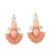Fanned Faceted Stone Chandelier Earrings by Charlotte Russe - Lt Pink