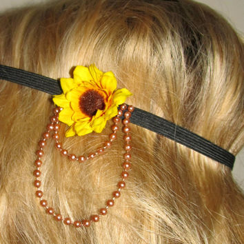 Sunflower with Beads Elastic Headband //Adult Size/ - Can be done for custom order, Email: RaveBabe@outlook.com