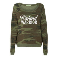 Camo - Weekend Warrior Sweatshirt - Ruffles with Love - Racerback Tank - Womens Fitness - Workout Clothing - Workout Shirts with Sayings