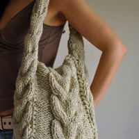 Designer hand knit cable shoulder bag hobo crossbody messenger school bag - Soul of a Vagabond CHOOSE YOUR COLOR