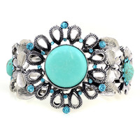 Sunflower Shape Large Turquoise Blue and Silver Color Stone Bracelet Jewelry - Western Country Girl Fashion Style