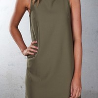 Swing Dress Khaki - Womens