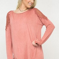 Crochet Shoulder Long Sleeve Top