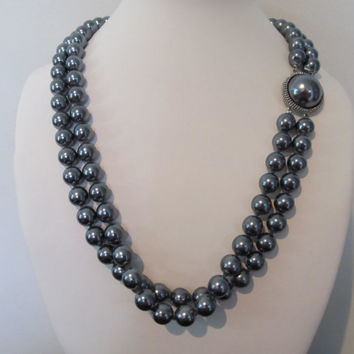 Grey Faux Pearl Double Strand Necklace