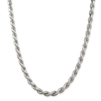 925 Sterling Silver 7mm Diamond-cut Polished 8 Sides Rope Chain Necklace, Bracelet or Anklet