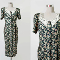 Vintage Tea Dess - Floral Dress - Lace Collar Dress - Workers Union Label - 1980s Dress Does 1940's Style