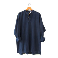 vintage henley shirt. oversized boyfriend shirt. textured cotton shirt. button front shirt. midnight blue.