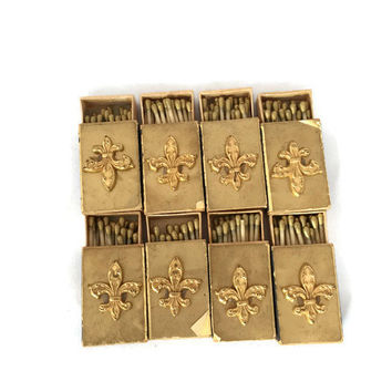 Vintage 8 Match Boxes with Gold Tone Fleur De Lis Gold Wax Matches, Made in Italy