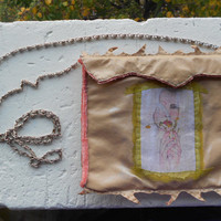 Clutch Purse with Decoupage+Crushed Velvet+Eco-Leather+Detachable Chain strap! ~Of Meadow and Ice~ Letter Clutch in Tan+Pink+Green+Silver