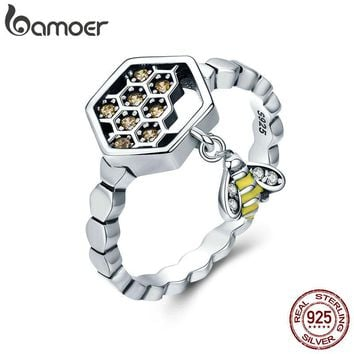 BAMOER 100% 925 Sterling Silver Fashion Bee with Honeycomb Female Finger Rings for Women Sterling Silver Jewelry Anel SCR329