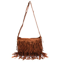 Fashion High Quality Nubuck with Tassels Bags for Women Fringe Clutch Handbags