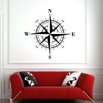 Compass Rose Wall Decal- Nautical Compass Rose Wall Decal- Compass Navigate Ocean Wall Decal- Living Room Bedroom Nursery Home Decor 0025