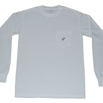 Long Sleeve Pocket Tee - Sand Key White