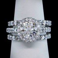 2.76 carat halo diamonds ring 3 row engagement ring white gold 14K solid gold