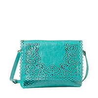 Big Buddha Brooklyn Turquoise Vegan Crossbody Bag