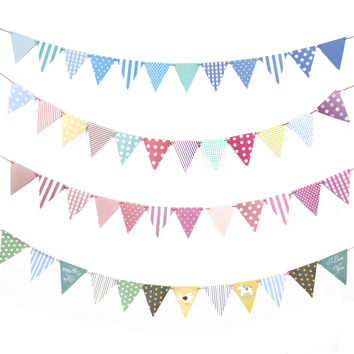 1Set DIY Paper Flags Garland Floral Bunting Banners Kids Birthday/Wedding Party Decoration Supplies Child's Room Banner Decor