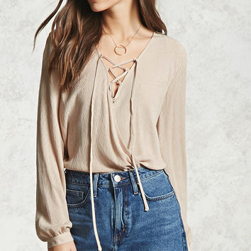 Lace-Up Surplice Top