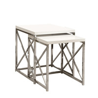 Glossy White/Chrome Metal 2 Piece Nesting Table Set