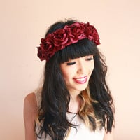burgundy wine rose crown -maroon floral statement headpiece, santa monica, festival crown, oversize rose.