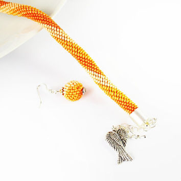 orange Bracelet Jewelry, Bracelets, Beadwork,