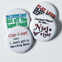 Clarinet Ninja plus three one inch Marching Band Buttons or Magnets
