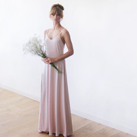 Blush pink open back dress, Maxi straps dress, Backless dress, Pink Bridesmaid dress, Formal dress, Party dress