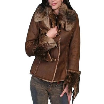 Scully Faux Suede Jacket w/Over-sized Faux Fur Collar