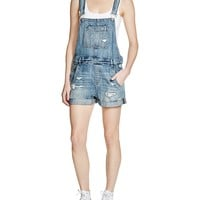 BLANKNYCDistressed Denim Shortalls in Fling Cleaning