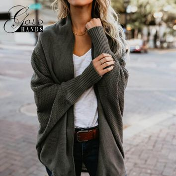 Autumn Winter Women Bat Sleeve Loose Knitted Cardigan Sweater Ladies Poncho Women Knitting Solid Coat Female Casual Sweaters