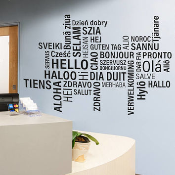 Hello Wall Decal, Hello Wall Sticker, Hello in Many Languages Wall Decor, Hello Word Collage Wall Art Design All Languages Room Mural se140
