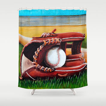 Baseball Shower Curtain by A Calcines