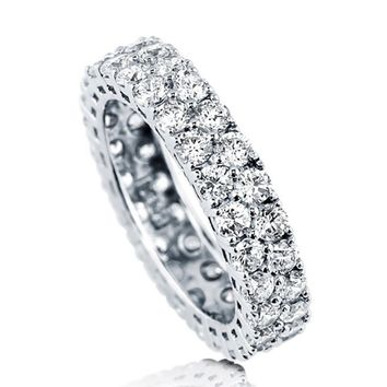 Sterling Silver .925 Bridal CZ Pave Set Round Eternity Wedding Band Ring 4-10